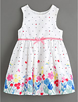 cheap -Girl's Daily Floral Dress, Cotton Linen Summer Sleeveless Cute Basic White