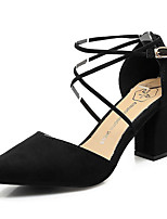 cheap -Women's Shoes Suede Spring / Summer Slingback Heels Chunky Heel Pointed Toe Black / Gray / Light Pink