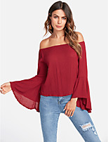 cheap -Women's Holiday Cute Active Blouse - Solid Colored Off Shoulder Sweetheart