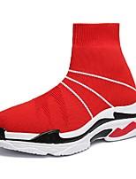 baratos -Homens sapatos Arrastão / Tule Verão Conforto / Solados com Luzes Tênis Corrida Preto / Vermelho