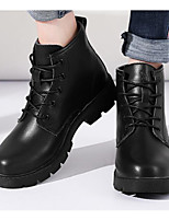cheap -Women's Shoes Cowhide Fall Winter Bootie Comfort Boots Chunky Heel Booties / Ankle Boots for Casual White Black Wine
