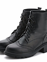 cheap -Women's Shoes Cowhide Nappa Leather Fall Winter Combat Boots Boots Chunky Heel Mid-Calf Boots for Black