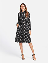 cheap -TS - Dreamy Land Women's Basic Cotton Sheath Dress - Polka Dot Shirt Collar
