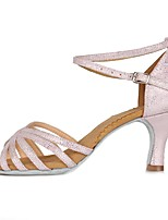 cheap -Women's Latin Faux Suede Patent Leather Sandal Heel Party Training Buckle Chunky Heel Pink/White 2 - 2 3/4inch Customizable