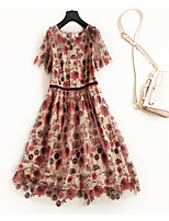 cheap -Women's Simple Vintage T Shirt Swing Dress - Floral Embroidered