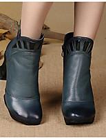 baratos -Mulheres Sapatos Pele Pele Napa Outono Inverno Botas da Moda Botas Salto Robusto Botas Curtas / Ankle para Azul