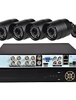 abordables -Système de sécurité 4 ch avec 1080n ahd dvr 4pcs 1.0mp caméras résistant aux intempéries avec vision nocturne