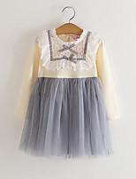 preiswerte -Mädchen Kleid Alltag Patchwork Baumwolle Polyester Frühling Herbst Langarm Niedlich Rosa Beige