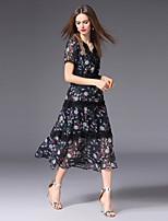 cheap -FRMZ Women's Plus Size Cute Slim A Line Dress - Floral Color Block Print Patchwork High Waist V Neck