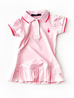 cheap -Girl's Daily Solid Colored Dress, Polyester Spring Summer Short Sleeves Street chic Blue White Blushing Pink