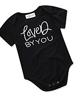 cheap -Baby Girls' Daily Going out Solid Colored Geometric One-Pieces, Cotton Polyester Summer Cute Active Short Sleeve Black 90 100 80 70
