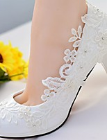 cheap -Women's Shoes Lace PU Spring Fall Slingback Wedding Shoes Stiletto Heel Round Toe Rhinestone Sparkling Glitter for Wedding Party & Evening