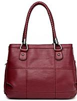 cheap -Women's Bags PU Shoulder Bag Zipper for Casual Fall Winter Black Gray Purple Wine