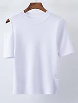 baratos -Mulheres Camiseta Moda de Rua Sólido