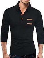 Недорогие -Муж. Классический Длинный рукав Тонкие Пуловер - Однотонный Рубашечный воротник