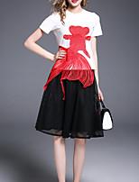 abordables -Mujer Básico Camisa - Bloques, Bordado Falda