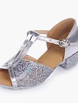 abordables -Fille Chaussures Latines Paillette Brillante / Paillettes / Cuir PVC Talon Utilisation / Entraînement Talon Bas Personnalisables