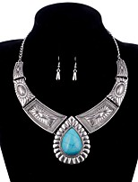 cheap -Women's Turquoise Jewelry Set 1 Necklace Earrings - Metallic Vintage Drop Gold Silver Jewelry Set For Evening Party Club