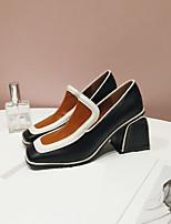 cheap -Women's Shoes Synthetic Microfiber PU Spring / Fall Comfort Heels Block Heel Square Toe Black / Camel