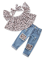 cheap -Girls' Daily Sports Leopard Clothing Set, Cotton Polyester Spring Summer Short Sleeves Active Street chic Blue