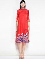 Недорогие -Жен. Винтаж Шинуазери (китайский стиль) А-силуэт Платье - Однотонный Средней длины