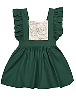 abordables -Robe Fille de Soirée Quotidien Couleur Pleine Coton Polyester Eté Sans Manches Mignon Actif Vert Rouge