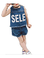 cheap -Girls' Daily Solid Colored Clothing Set, Rayon Summer Sleeveless Basic Blue