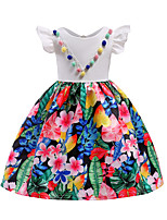 cheap -Girl's Party Going out Floral Dress, Cotton Polyester Spring Summer Short Sleeves Cute White