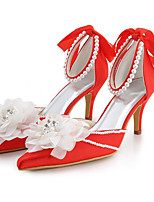 baratos -Mulheres Sapatos Seda Primavera / Outono Conforto / Plataforma Básica Saltos Salto Agulha Vermelho