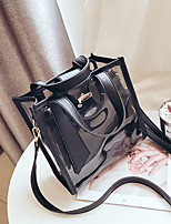 cheap -Women's Bags PVC Shoulder Bag Zipper for Casual All Seasons White Black Blushing Pink