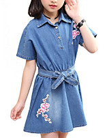 cheap -Girl's Daily Holiday Solid Colored Dress, Cotton Polyester Summer Short Sleeves Cute Active Blue
