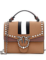 cheap -Women's Bags Cowhide Shoulder Bag Zipper for Event / Party Casual All Seasons Black Gray Brown