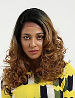 cheap -Synthetic Lace Front Wig Wavy Side Part Natural Hairline Black-Blonde Women's Lace Front Natural Wigs Long Synthetic Hair Daily