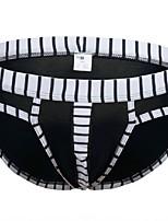 cheap -Men's G-string Underwear Briefs Underwear Solid Colored Striped Mid Rise