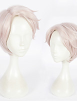 cheap -Synthetic Wig Straight Layered Haircut Natural Hairline Pink Women's Capless Cosplay Wig Short Synthetic Hair Christmas