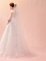 cheap -One-tier Lace Applique Edge New Arrival Wedding Veil Chapel Veils Cathedral Veils 53 Petal Embroidery Lace Tulle
