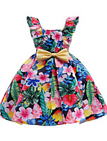 cheap -Girl's Daily Going out Floral Dress, Cotton Polyester Spring Summer Sleeveless Cute Active Blushing Pink