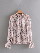 cheap -Women's Vintage Cotton Blouse - Solid Colored, Tassel Print
