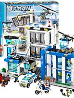 cheap -City Police Station Motorbike Helicopter Model Building Blocks 890pcs City View High Quality Architecture Toy Toy Gift