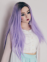 abordables -Perruque Synthétique Droit Partie médiane Résistant à la chaleur Cheveux Colorés Violet Femme Sans bonnet Perruque Naturelle Long Cheveux