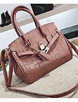 cheap -Women's Bags PU Shoulder Bag Buttons for Casual Fall Winter Black Red Blushing Pink Brown