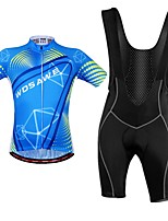 cheap -WOSAWE Cycling Jersey with Bib Shorts - Royal Blue Bike Bib Shorts Jersey Clothing Suits, Breathable, Reflective Strips, Spring Summer,