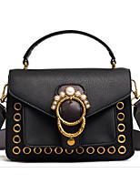 cheap -Women's Bags PU Shoulder Bag Buttons for Casual Black / Blushing Pink / Brown