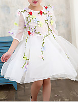 cheap -Girl's Daily Holiday Floral Dress, Polyester Summer 3/4 Length Sleeves Cute Active White Blushing Pink Light Blue