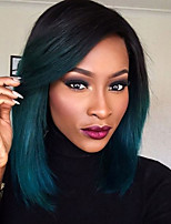 cheap -Remy Human Hair Wig Brazilian Hair Straight Short Bob Layered Haircut Bob Haircut 130% Density With Baby Hair Dark Roots Ombre Hair Blue