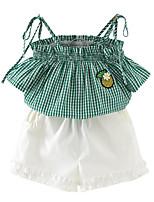 Недорогие -Девочки Повседневные С принтом Набор одежды, Хлопок Искусственный шёлк Лето Без рукавов Классический Зеленый