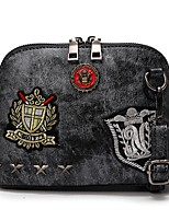 cheap -Women's Bags PU Shoulder Bag Appliques / Zipper Black / Blushing Pink / Purple