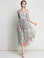 Недорогие -Жен. Изысканный Уличный стиль А-силуэт С летящей юбкой Платье - Цветочный принт, Вышивка Макси