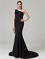 cheap -Mermaid / Trumpet One Shoulder Sweep / Brush Train Spandex Cocktail Party / Formal Evening / Black Tie Gala / Holiday Dress with Pleats by