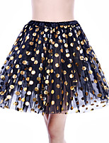 cheap -Wedding Event / Party Slips Polyester Knee-Length Party / Evening Skirt with Copper Coin Split Joint